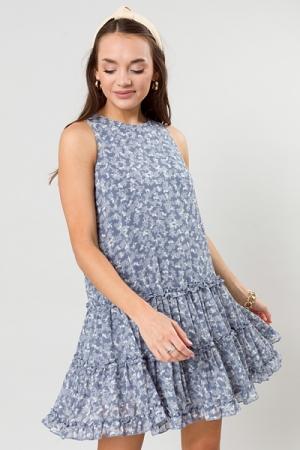 Melinda Floral Dress, Blue Grey