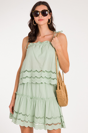 Eyelet 2 Piece Skirt Set, Sage