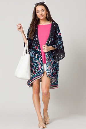 Kaylie Printed Kimono, Black
