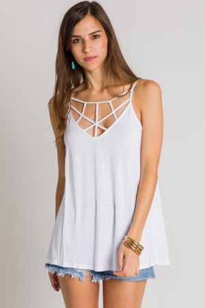 Strappy Knit Cami, Off White