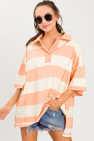 Oversize Stripe Pullover, Peach