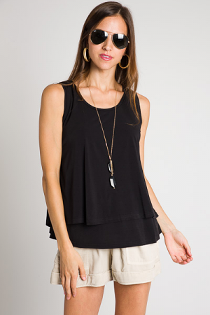 Casual Double Layer Tank, Black