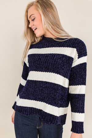 Maley Chenille Sweater, Navy