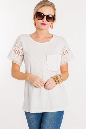 Crochet Pocket Tee, White