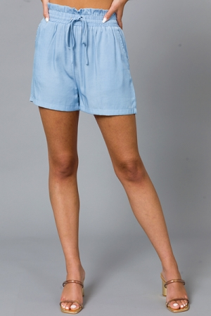 Shaylee Solid Shorts, Sky