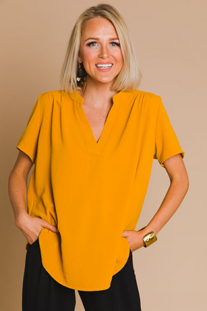 Work Hours Blouse, Mustard