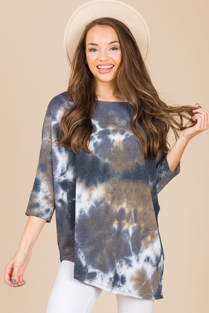 Asymmetric Tunic, Black Tie Dye