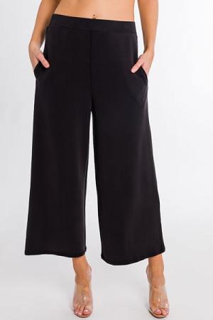 Soft Knit Wide Leg Pant, Black