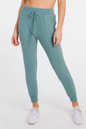 Rib Edges Joggers, Teal