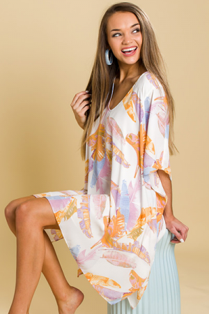 Ivory Palm Leaf Caftan