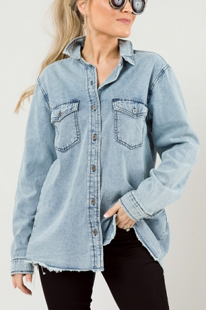 Edgy Chambray Button Down