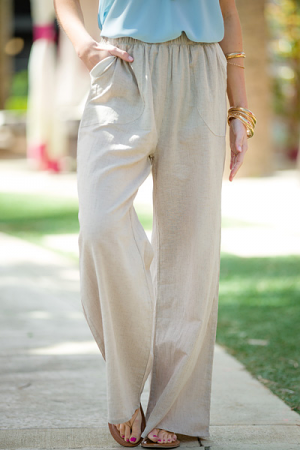 Pinstripe Pocket Pant, Natural