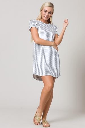 Karlie Knit Stripe Dress, Navy