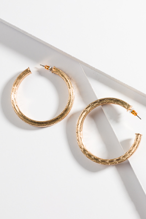 Textured Open Hoop, Gold