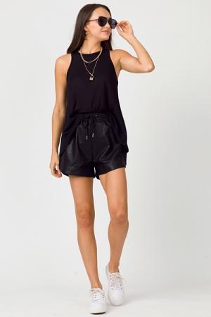 Brant Leather Shorts, Black