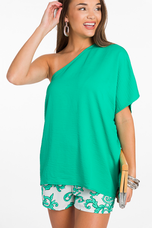 Chic One Shoulder Top, Green