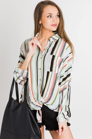 Go Green Striped Tie Top