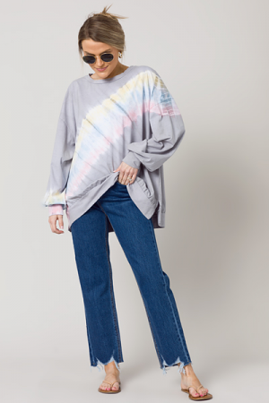 Diagonal Dye Pullover, Grey