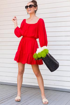 Maya Solid Dress, Red