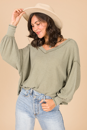 Bubble Sleeve Thermal, Olive