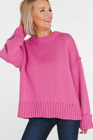 Cropped Cuffed Sweater, Bubblegum