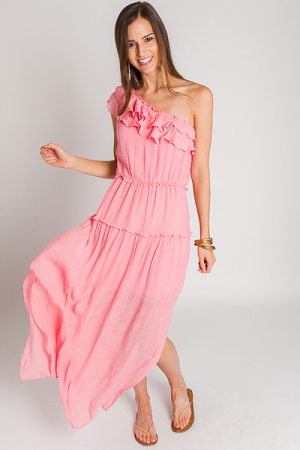 Pinky One Shoulder Maxi
