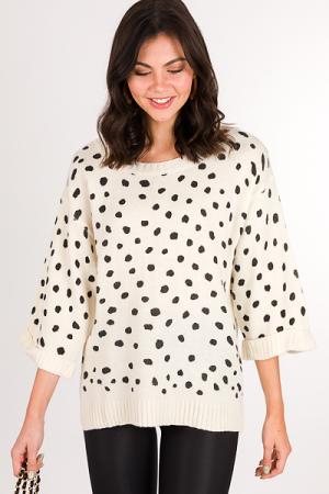 Stamped Spots Cuff Sweater, Cream