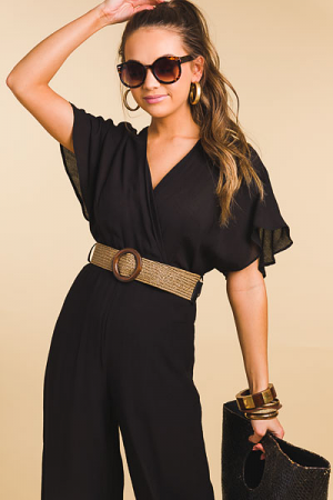 Belted Little Black Jumpsuit