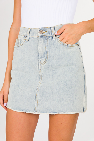 Raw Edge Denim Skirt, Light