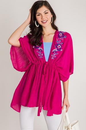 Tie Waist Kimono, Pink