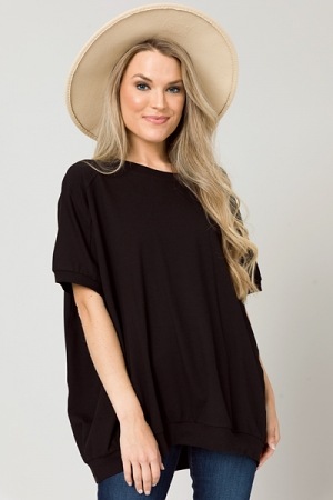 Laid Back Style Top, Black