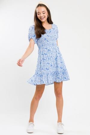 Summer Smock Dress, Blue Floral