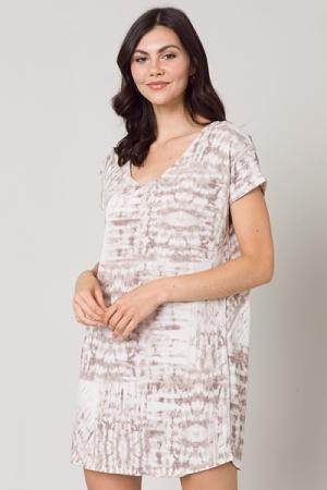 Taupe Tie Dye Knit Dress