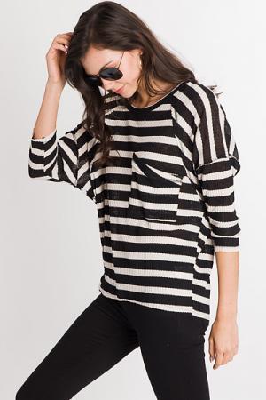 Exposed Stripe Top, Black