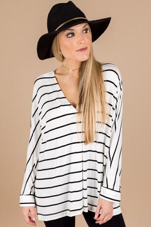 Drop Shoulder Stripe Top, Ivory