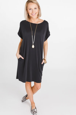 Clea Tee Dress, Black