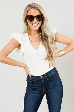 Flounce Sleeve Bodysuit, White