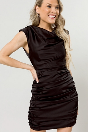 Silky Ruched Dress, Black