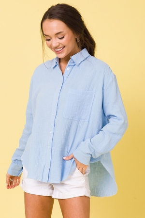 Mailee Puff Button Up, Blue
