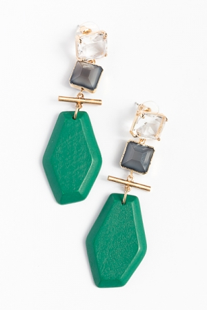 Square and Hexagon Earrings, Green