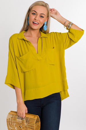 Collared Pocket Blouse, Mustard