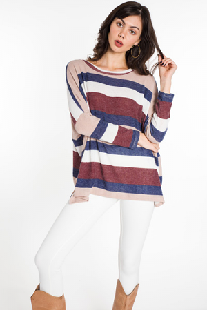 Boxy Striped Tunic, Multi