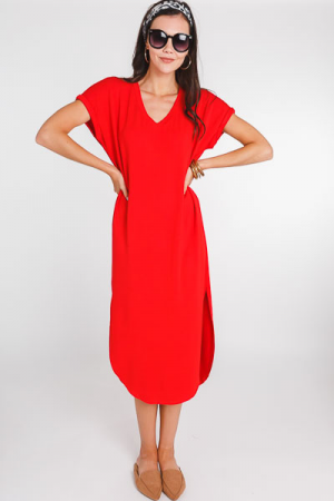 Alex Midi Dress, Red