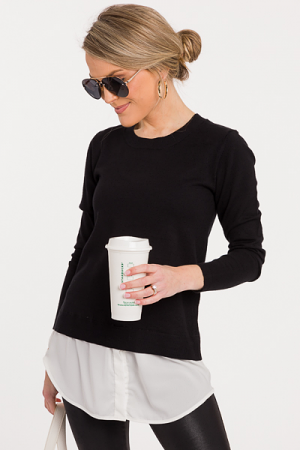 Layered Bottom Sweater, Black