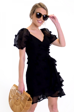 Textured Spots Dress, Black
