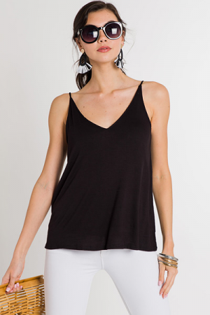 Slub Knit Cami, Black