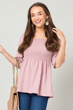 Amy Solid Smock Top, Mauve