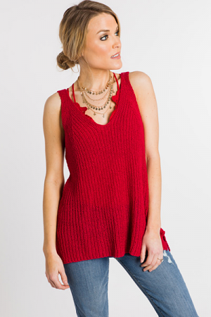 Simple Sweater Tank, Red