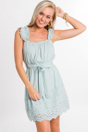 Sage Eyelet Dress