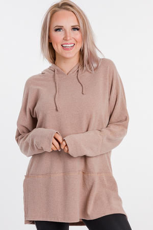 Hacci Hooded Pullover, Taupe